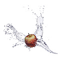 Red apple and splash of water - KSWF001427