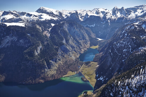 Germany, Bavaria, Aerial view of Alps with lakes Koenigssee nad Obersee - KDF000691