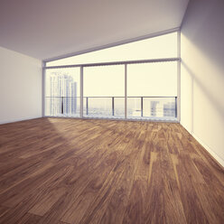 Empty apartment with wooden floor, 3d rendering - UWF000399