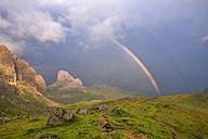 Italy, Veneto, Selva di Cadore, rainbow in the mountains - RUEF001530