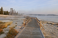 USA, Wyoming, Yellowstone National Park, boardwalk at West Thumb Geyser Basin - RUEF001535