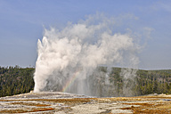 USA, Wyoming, Yellowstone National Park, Old Faithful Geyser erupting - RUEF001552