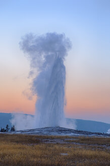USA, Wyoming, Yellowstone National Park, Old Faithful Geyser erupting at sunset - RUEF001569