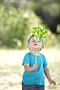 Little boy outdoors playing with paper windmill - ZEF003761