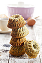 Stack of mini Gugelhupf with poppy seed - CSF024902