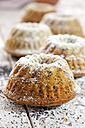 Mini Gugelhupf with poppy seed sprinkled with icing sugar - CSF024904