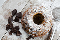 Chocolate cake sprinkled with icing sugar - CSF024913