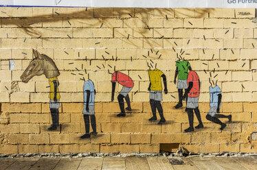 Spain, Andalusia, Malaga, Graffiti, human appearances, headless, on with horse's head - THA001278