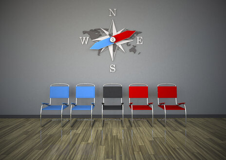 Chairs with compass in a room, 3d rendering - ALF000425