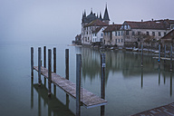 Switzerland, Thurgau, Steckborn, View from jetty to Turmhof at Lake Constance in the morning - KEBF000065