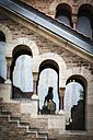 Germany, Brunswick, part of facade of Dankwarderode Castle with reflection of Brunswick Lion - EVGF001338