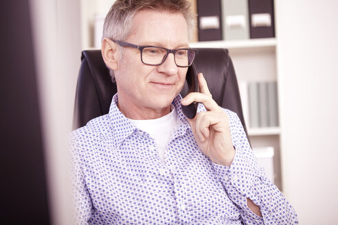 Businessman telephoning at home office - SEGF000263