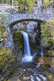 USA, Washington, Mount Rainier National Park, Van Trump Creek, stone bridge and Christine Falls - FOF007824