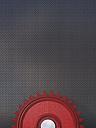 Red cogwheel in front of grey background, 3D Rendering - UWF000406