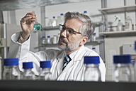 Scientist in laboratory examining liquid in round bottom flask - RBF002531