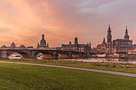 Germany, Dresden, view to skyline with Elbwiesen in the foreground at morning - PVC000311