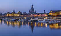 Germany, Dresden, view to skyline with Dresden Frauenkirche at morning twilight - PVC000314