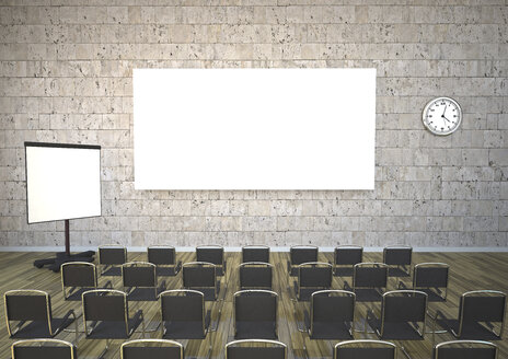 Meeting room with chairs, flipchart and projection screen, 3D Rendering - ALF000434