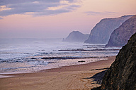 Portugal, Algarve, Sagres, Cordoama Beach at twilight - MRF001562