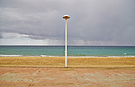 Portugal, Algarve, Salema, beach and steet lantern - MRF001576