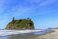 USA, Washington State, Olympic Peninsula, Olympic National Park, Pacific Ocean, Tourist at Rubby Beach - FOF007882
