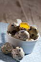 Saucepan of whole and opened quail eggs on cloth - CSF024998