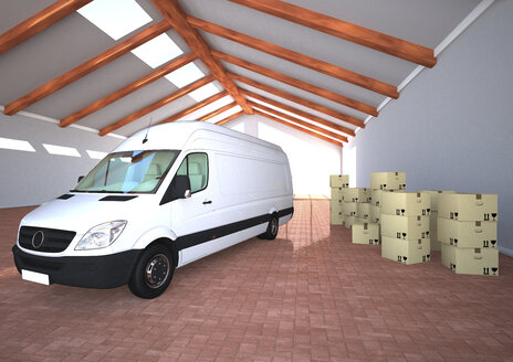 Delivery van with cardboard boxes, 3d Rendering - ALF000437