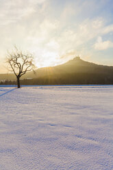 Germany, Baden-Wuerttemberg, View to Hohenzollern Castle in winter against the morning sun - WDF002988