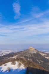 Germany, Baden-Wuerttemberg, View to Hohenzollern Castle in winter - WDF002991