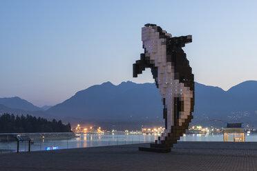 Canada, British Columbia, Vancouver, sculpture Digital Orca on Jack Poole Plaza - KEB000020