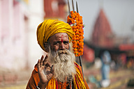 India, Uttar Pradesh, Varanasi, portrait  of a Sadhu - PC000102
