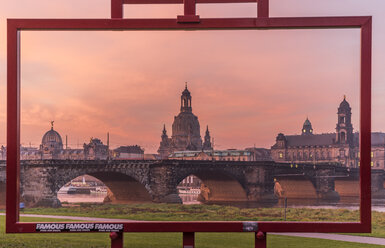 Germany, Dresden, view to old city with Dresden Frauenkirche through frame - PVCF000354