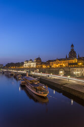 Germany, Dresden, view to lighted old city in the morning - PVCF000342