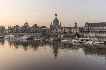 Germany, Dresden, view to city with Elbe River in the foreground in the morning - PVCF000360
