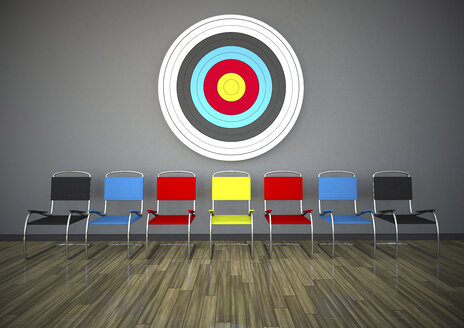 Row of chairs under target, 3d Rendering - ALF000438