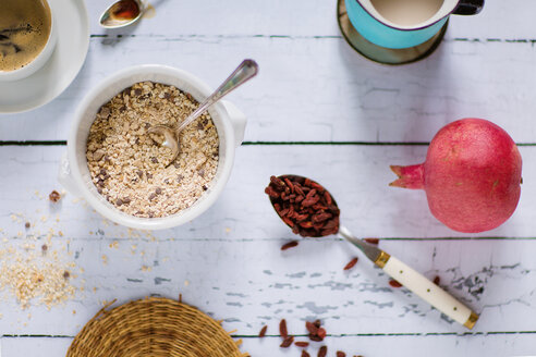 Quinoa breakfast bowl, rice milk, pomegranate, goji berries and coffee - LSF000018