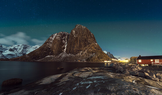 Norway, Lofoten, Hamnoy, night at Reinefjorden - MKFF000177