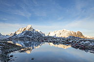 Norway, Lofoten, Reine, view to harbour at sunrise - MKFF000188