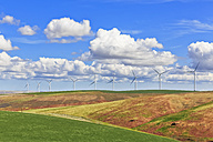 USA, Idaho, Palouse, wind park, grain fields - FOF007928