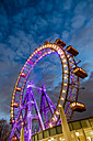 Austria, Vienna, ferris wheel on Prater at blue hour - EJW000700