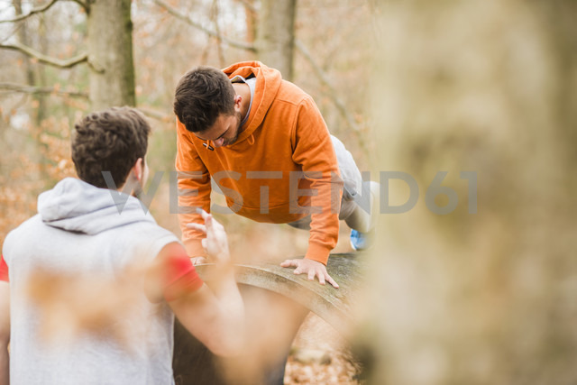 Two young men exercising in forest - UUF003723 - Uwe Umstätter/Westend61