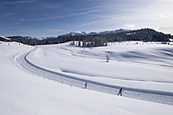 Germany, Reit im Winkl, snow-covered Winklmoosalm with cross-country skiers - SIEF006550