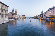 Switzerland, Zurich, River Limmat, Limmatquai, Town hall, Great minster and Fraumuenster Church - WDF003005