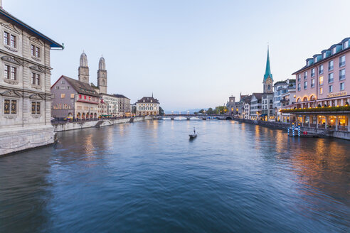 Switzerland, Zurich, River Limmat, Limmatquai, Town hall, Great minster and Fraumuenster Church - WDF003005