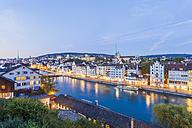 Switzerland, Zurich, Cityview in the evening, Limmat River and Limmatquai - WDF003018