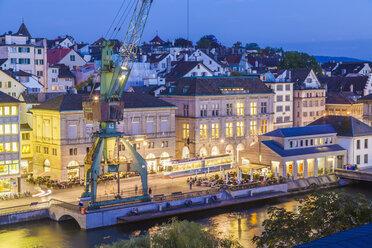 Switzerland, Zurich, Limmatquai in the evening - WDF003019