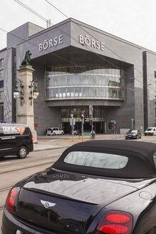 Switzerland, Zurich, Bentley convertible in front of Swiss stock exchange - WD003031
