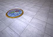 3D rendering, Golden compass on tiled floor - ALF000444