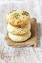 Stack of home-baked pita bread with spices - EVGF001440