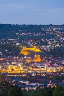Germany, Baden-Wuerttemberg, Esslingen, View to city centre with castle in the evening - WDF003048